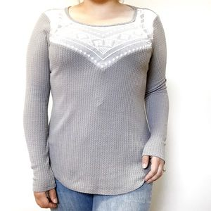 Waffle Knit Lace Detailed Top